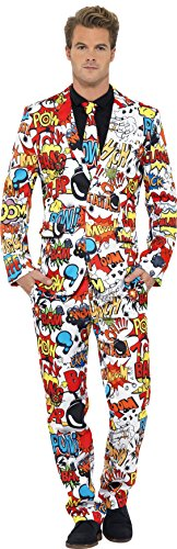 Smiffy's Men's Comic Strip Suit, with Jacket, Trousers and Tie, XL-US Size 46