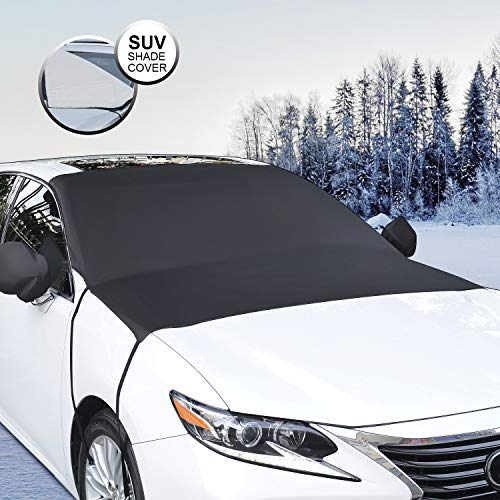 Whew Car Windshield Snow Cover, Waterproof Frost Guard Winter Windshield Snow Ice Cover with Side Mirror Covers, Windproof Summer Windshield Sun Shade Fits Most Cars, SUVs, Minivans - Size 81''x60''