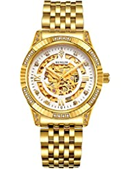 BINLUN 18K Gold Plated Automatic Wrist Watches for Men Luxury Mens Dress Watch