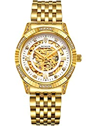 Mens Gold Automatic Luxury Skeleton Watches Gift to Father