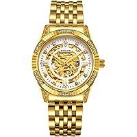 [Patrocinado] binlun bañados en oro 18K acero inoxidable lujo–Reloj automático relojes de muñeca para hombres impermeable de los hombres