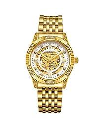 BINLUN 18K Gold Plated Men's Luxury Dress Watches Automatic Waterproof Stainless Steel Wrist Watch Gift