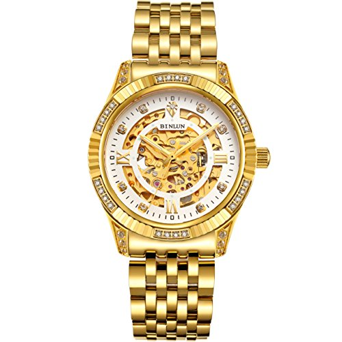 (BINLUN Men's Gold Automatic Luxury Skeleton Watches Gift to Father)