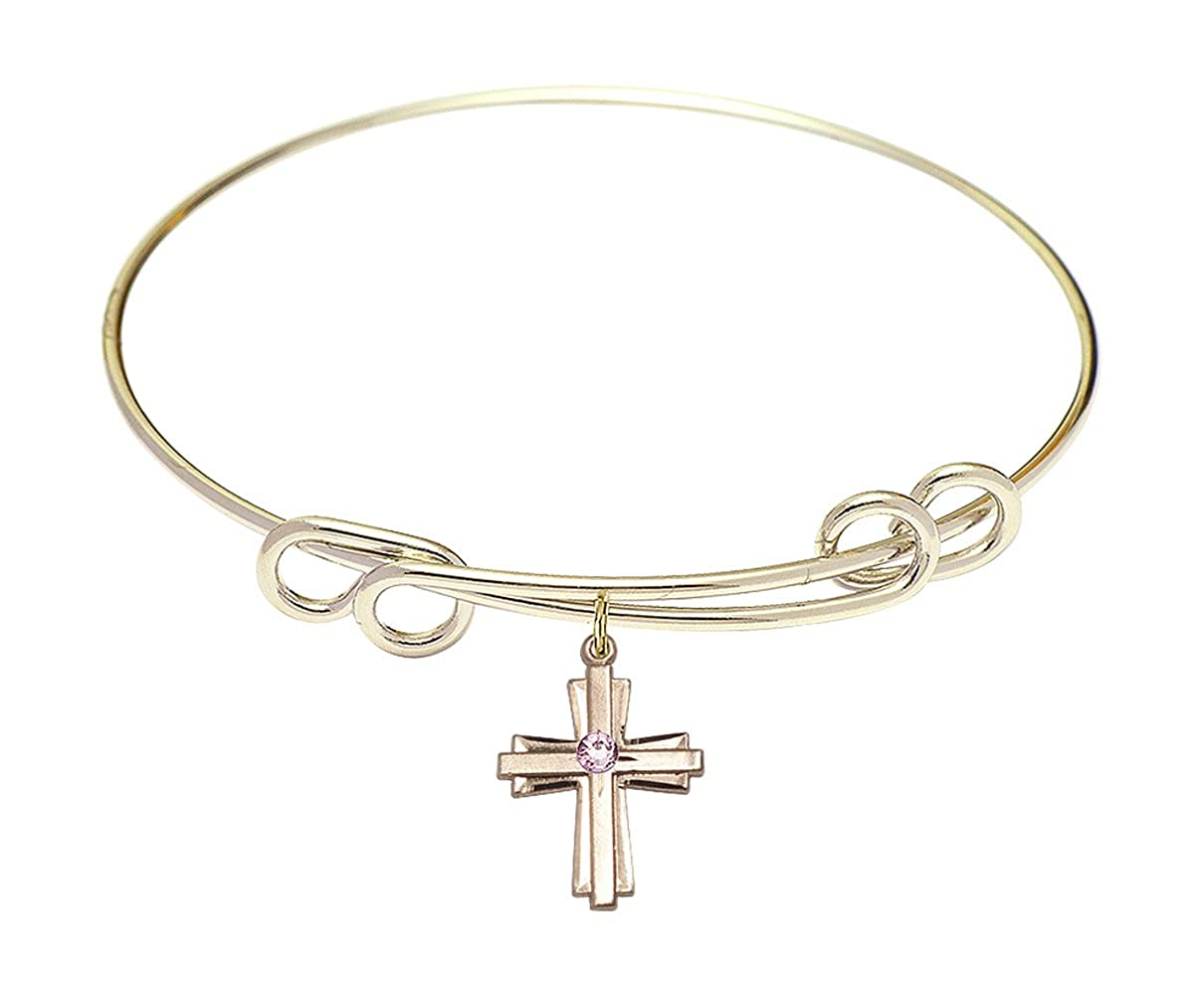Cross Charm On A 8 1//2 Inch Round Double Loop Bangle Bracelet