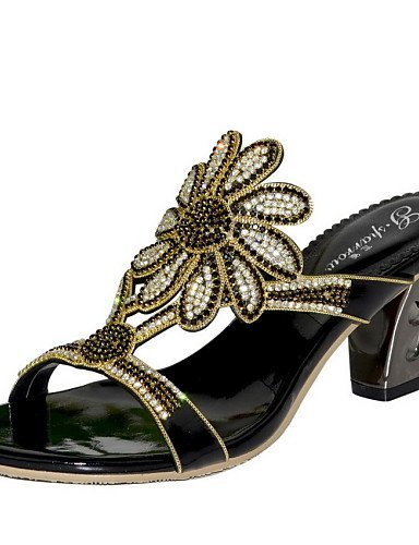 ShangYi Women's Shoes Leather Chunky Heel Heels Sandals Party & Evening / Dress / Casual Black / Blue / Gold golden UgyfGZ8