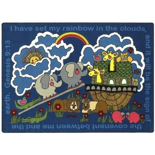 Joy Carpets 1492D Rainbow s Promise 7 ft.8 in. x 10 ft.9 in. 100 Pct. STAINMASTER Nylon Machine Tufted- Cut Pile Educational- Faith Based Rug by Joy Carpets