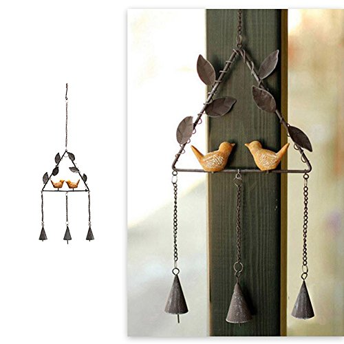 SHZONS Wind Chime, Bird Wind Chimes Japanese Handmade Metal Bell Wind Chime Ornaments Home Iron Hanging Decor,Painted Vintage Stoving Paint Japanese Bird Bells