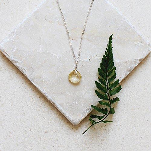 - Tiny Citrine Teardrop Necklace in 14k Gold Fill - November Birthstone