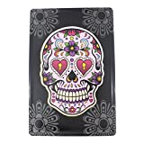 12x8 Inches Pub,bar,home Wall Decor Souvenir Hanging Metal Tin Sign Plate Plaque (SKULL WITH FLOWERS)