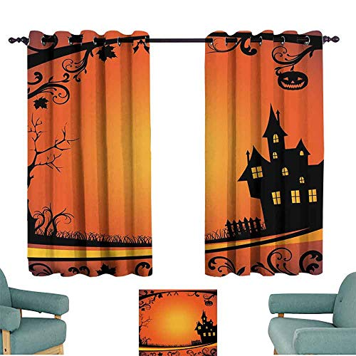 Mannwarehouse Halloween Soft Curtain Framework with Curvy Tree Branches Swirls Leaves Gothic Castle Festival Privacy Protection 63