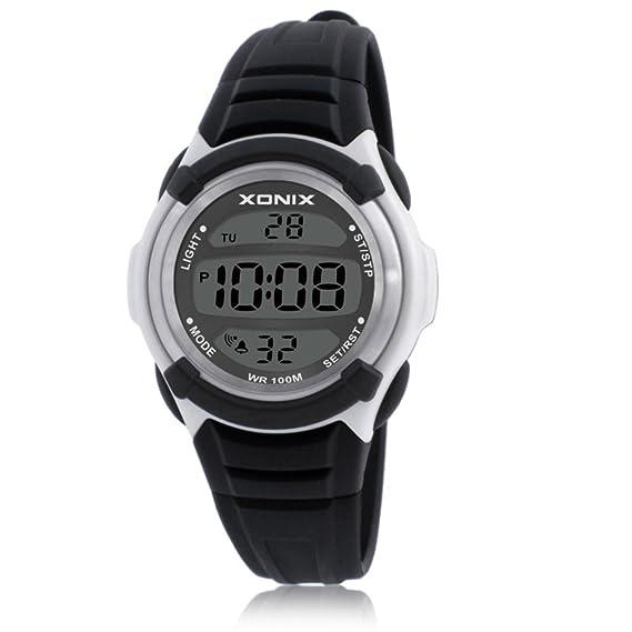 Hombre Multifuncionales relojes electrónicos,Led 100m resistente al agua Sincronización digital Gmt cuando dos Luminoso Calendario Niño Niña Chico ...