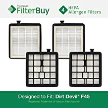 4 - Dirt Devil F45 HEPA Replacement Filters, Part # 2KQ0107000. Designed by FilterBuy to fit Dirt Devil Vision Pet Canister Vac SD40000 & Dirt Devil EZ Lite Canister Vac SD40010