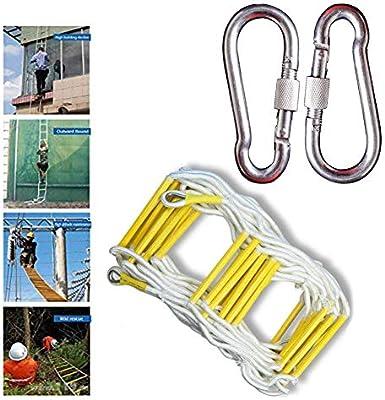 LATG Escalera De Cuerda Blanda - Resistente Al Fuego Emergencia Seguridad contra Incendios Escalera De Evacuación con Mosquetones Gancho para Niños Adultos Adecuado para La Escalada En Incendios,15M: Amazon.es: Deportes y aire
