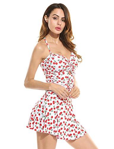 EKOUAER Damen Badekleid Plus Size Geblümt Figurformender Einteiler Badeanzug Swimsuit Z Weiß pv46UGpTW