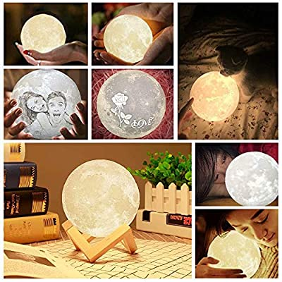 FanbuOu Personalized Moon Lamp: 3D Printed Custom Photo & Text Moon Light for Kids Gift with USB Charging and Touch Control Brightness Warm and Cool White Lunar Lamp: Home & Kitchen