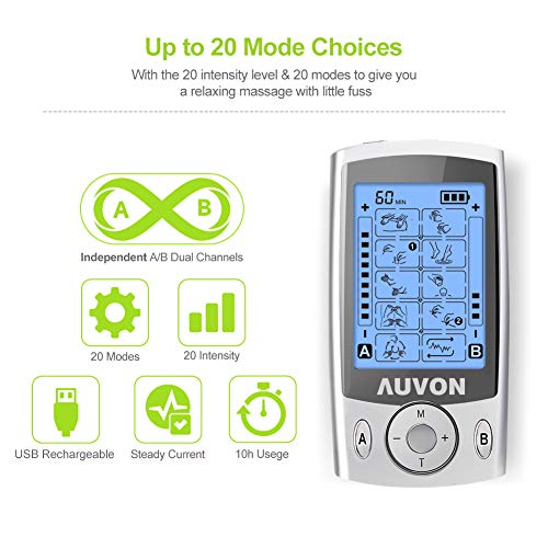 """AUVON Dual Channel TENS Unit Muscle Stimulator Machine with 20 Modes, 2"""" and 2""""x4"""" TENS Unit Electrode Pads"""