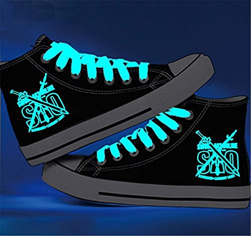 Bromeo Sword Art Online Unisexe Toile Salut-Top Sneaker Baskets Mode Chaussures Lumineux