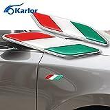CALAP-STORE - Car Styling 1 Pair 3D Aluminum Italian Flag Fender Emblem Badge Car Stickers For Fiat Alfa Romeo 159 147 156 Abarth Accessories