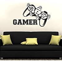 Gamer Wall Decal Vinyl Sticker Decals Game Controllers Gaming Video Game Joystick Boy Room Decor Bedroom Men Gift Dorm Gamer Gifts ZX125