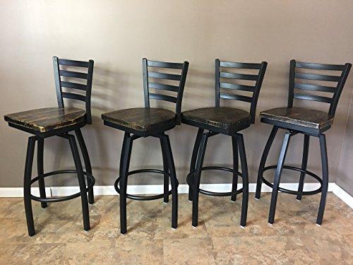 Reclaimed Wood Seat Barstool Set of 4 Modern Swivel Black Ladder Back Metal Frame Restaurant Grade -30 Inch High Barstool FREE SHIPPING
