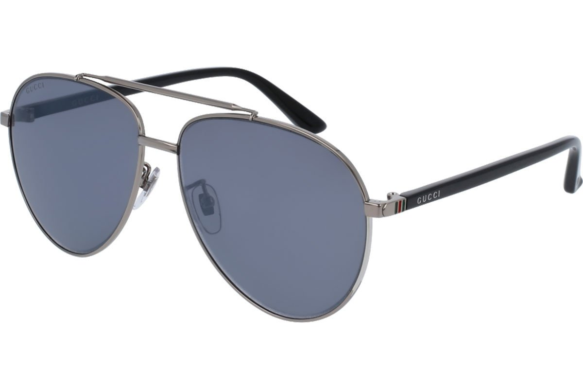 Gucci GG 0043SA 001 Asian Fit Silver Metal Aviator Sunglasses Blue Mirror Lens
