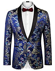 COOFANDY Men's Floral Party Dress Suit Luxury Embroidered Wedding Blazer Dinner Tuxedo Jacket