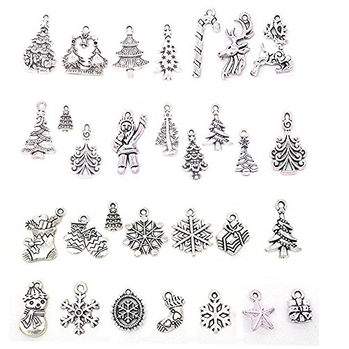 Antique Santa (BoNaYuanDa 30PCS Mixed Antique Silver Color Christmas Tree Santa Snowflake Stocking Cane Charm)