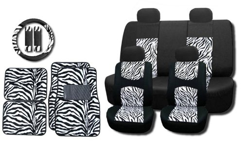 New and Exclusive Mesh Animal Print Interior Set White Zebra 15pc Seat Covers Front & Back Lowback, Back Bench, Steering Wheel & Seat Belt Covers - Floor Mats - Padded Mesh (Zebra Mesh)