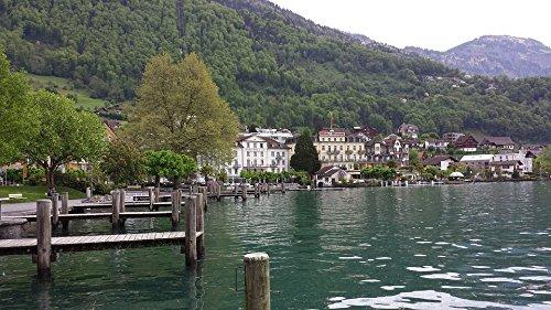 Home Comforts Laminated Poster Lake Bank Nature Weggis Water Lake Lucerne Region Poster 24X16 Adhesive Decal