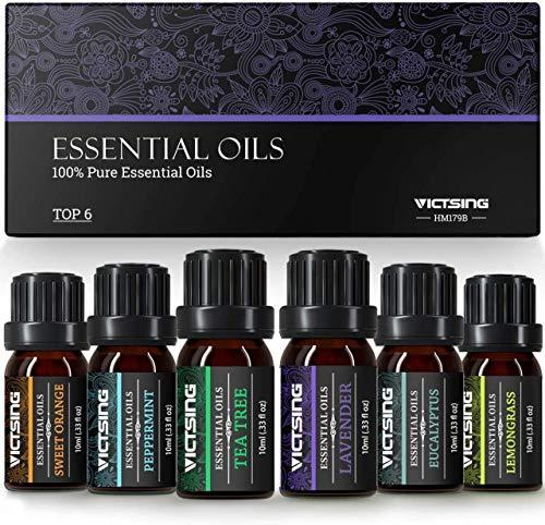 VicTsing Aceites Esenciales para Humidificador,100% Pure Natural,Perfume de Aromaterapia, 6 10ml-Naranja Dulce, Lavanda, Arbol de Te, Hierba de Limon, Eucalipto y Menta,etc (6)