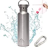 Fly Skyline Double Walled Vacuum Insulated Stainless Steel Sports Water Bottles Travel Hydration Thermoses Bottle BPA Free 20oz Silver