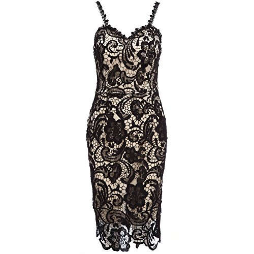 TrendsGal Sweet Strappy Zippered Pure Color Lace Bodycon Women Midi Dress(Colorful XL) from TrendsGal