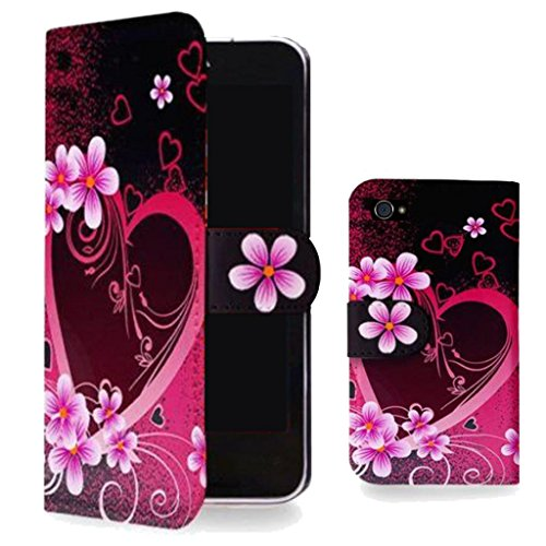 Mobile Case Mate Apple iPhone 5s élégant PU Cuir Coque Case portefeuille Wallet Housse Cover Rose Nior Coeur With Credit Card Slots