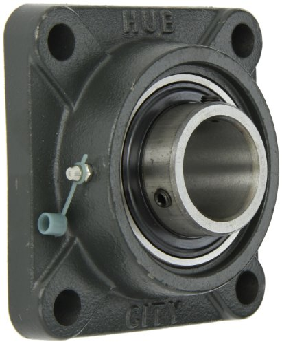 Hub City FB250DRWX1-1/2 Flange Block Mounted Bearing, 4 Bolt, Normal Duty, Relube, Setscrew Locking Collar, Wide Inner Race, Ductile Housing, 1-1/2