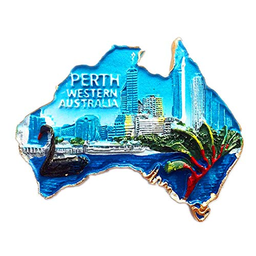 Perth Creative Map Australia 3D Refrigerator Fridge Magnet Travel City Souvenir Collection Kitchen Decoration White Board Sticker Resin]()