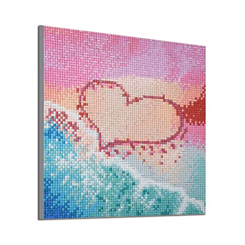 DIY 5D Square Diamond Painting Kit, Partial Drill Embroidery Cross Stitch Arts Craft Canvas Wall Decor - Mult Patterns for Choose (Heart 25X25cm) -