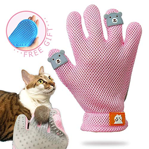 FURBB Pet Grooming Glove – Cat Dog Gentle Deshedding Brush Glove – Efficient Pet Hair Remover Massage Mitt – Enhanced…