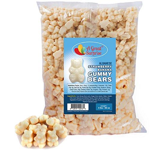 Gummy Bears Bulk - Strawberry Banana Gummy Bears - White Gummies - Bulk Candy 5 LB -
