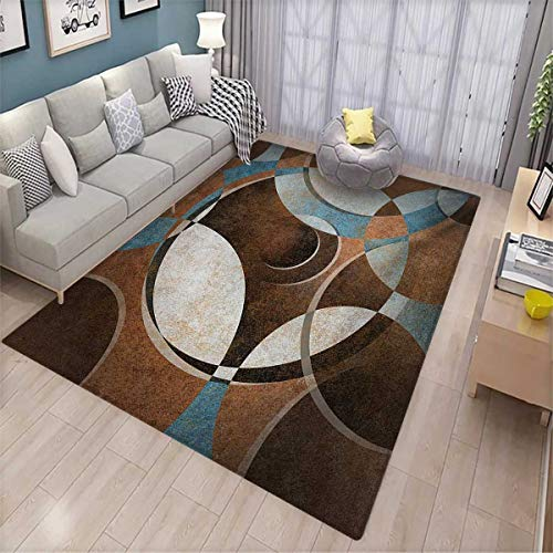 - Abstract Bath Mat 3D Digital Printing Mat Grunge Vintage Style Contemporary Circular Round Geometric Figures Artwork Door Mat Increase 6'x7' Umber Slate Blue