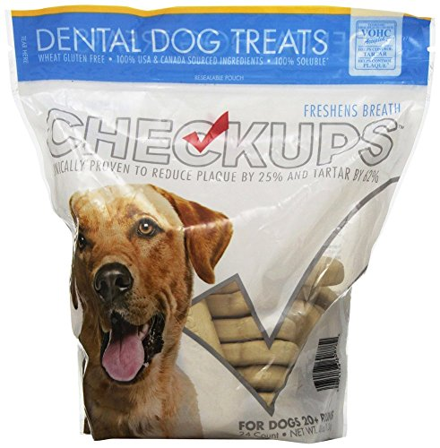 Checkups- Dental Dog Treats, 24ct 48 oz. for dogs 20+ pounds (2 Bags, 48 Count Total)]()