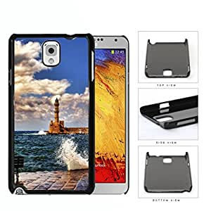 Seaside Lighthouse With Water Splashing View Hard Plastic Snap On Cell Phone Case Samsung Galaxy Note 3 III N9000 N9002 N9005