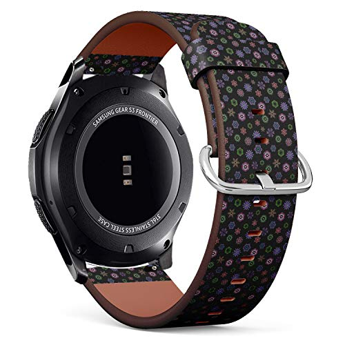 - Compatible with Samsung Gear S3 Frontier/Classic - 22mm Quick-Release Leather Band Bracelet Strap Wristband Replacement - Christmas Party Design Template