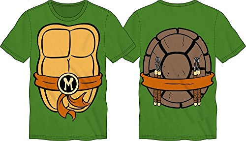 TMNT Teenage Mutant Ninja Turtles Mens Costume T-shirt (Large, Michelangelo)