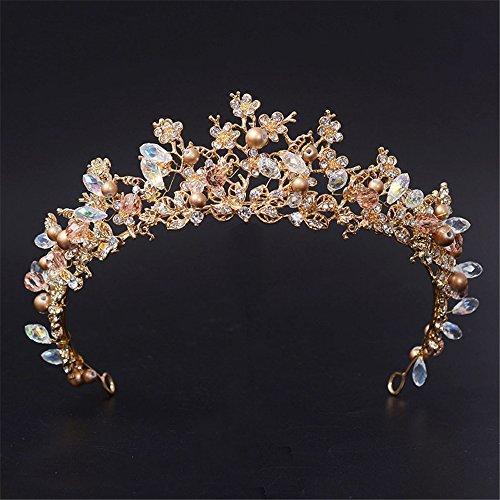(Crystal Rhinestone Crown Gold Tiara for Women Pearl Flower Bridesmaid Hair Accessories)