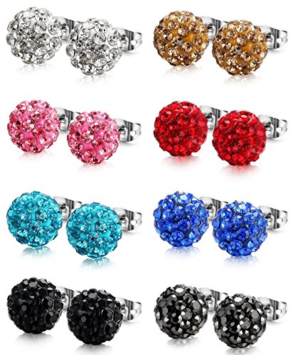10mm Ball Stud Earrings - Jstyle Crystal Ball Stud Earrings for Women Girls Disco Ball Earrings Children 8 Pairs 10MM