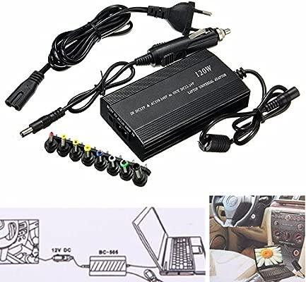 Adaptador universal ac/dc portatil 120w cargador coche pc camara impresora