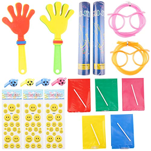 YINASI 116PCS Party Favors for Kids and Adults, Including Glow Stick Bracelets, Straw Glasses,Mini Hand Clappers, Inflatable Sticks, Smile Face Stickers and Whistles, Mixed Colors Party Wedding Celebration Competition Supplies