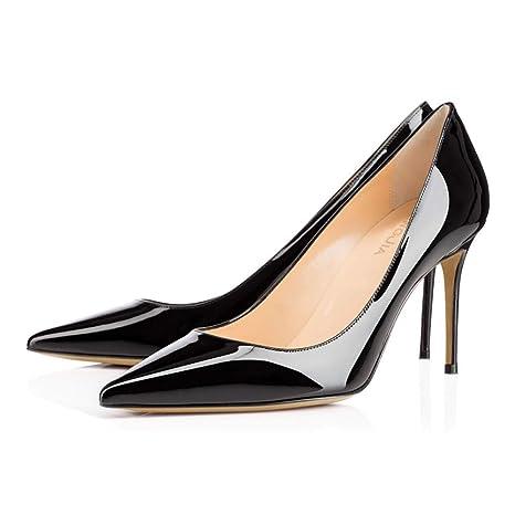3daa586652ecb RSHENG Mesdames Haut Talon Noir Rivet Chaussures Blanc Beige en Cuir Verni  Chaussures De Mariage Chaussures De Travail  Amazon.fr  Sports et Loisirs