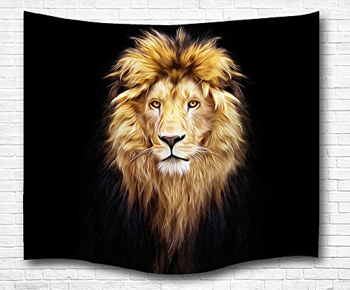 African Wall Tapestry - Strong World Male Lion Wall Tapestry, Thick Lion Mane Adventure Trod against Dark Night Never Stop Moving Living Room Bedroom Decor Natural Art Tapestry