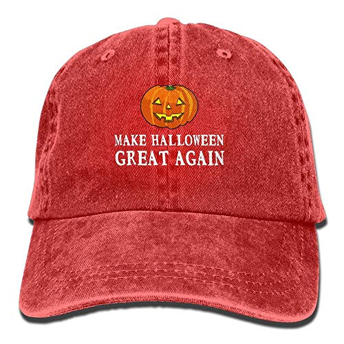 2017 Funny Pumpkin Make Halloween Great Again Washed Retro Adjustable Jeans Cap Gym Caps for Adult Red]()